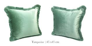 lunchtime indulgence balbir style picture free shipping solid brown turquoise blue shiny velvet cushion