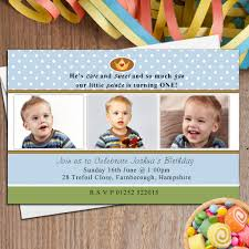 10 personalised boys first 1st birthday party photo invitations n25