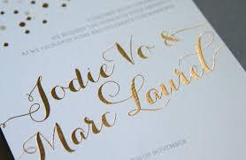 Beautiful Wedding Invitations Beautiful Wedding Invitations Metallic Foil Stamping Gold White Detail