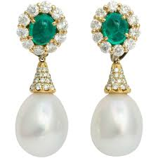 post back earring kurt wayne oval emerald diamond gold omega clip post back earrings