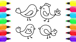 how to draw colorful little birds coloring pages animals for