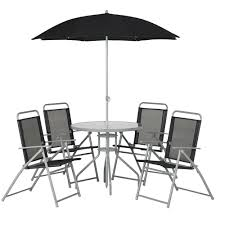 6 Seat Patio Table And Chairs Round Patio Set Black 6 Piece Garden Furniture Patios And Rounding
