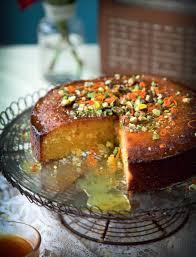 orange polenta cake with honey rosewater syrup farmette