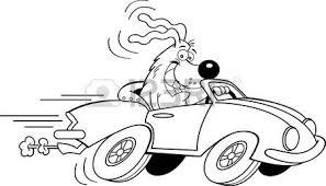 cartoon illustration dog driving car royalty free cliparts