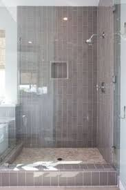 Subway Tiles Bathroom Gray Walk In Shower Boasts Ceiling And Walls Clad In Gray Tiles