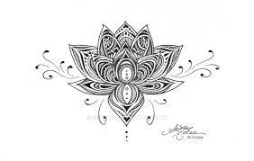 classic black ink lotus flower design