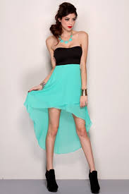 mint black strapless sweetheart tow tone high low hem party