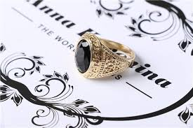 black stones rings images Online cheap new mens rings black precious stones real gold plated jpg