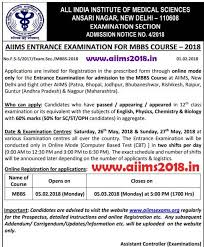paper pattern of aiims aiims 2018 registration opens fill aiims mbbs 2018 form mbbs