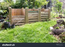 wooden compost bins garden setting stock photo 297135617
