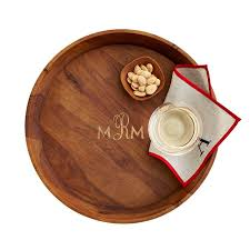 monogrammed platters and trays acacia circular tray and graham