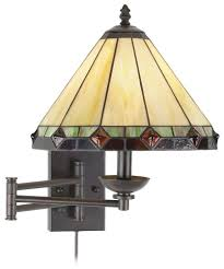 Wall Mounted Swing Arm Lamps Tiffany Style Glass Panel Plug In Swing Arm Wall Lamp Wall Porch