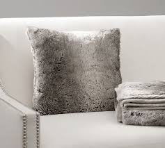 Sofa Pillow Cases Faux Fur Pillow Cover Gray Ombre Pottery Barn