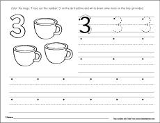 number three writing counting and identification activity