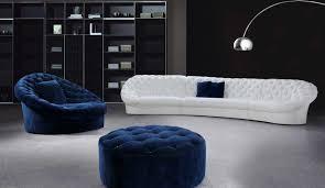 fresh stunning blue round tufted ottoman 9671