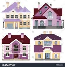 Modern House Front Set Modern Houses Front View Stock Vector 189512879 Shutterstock