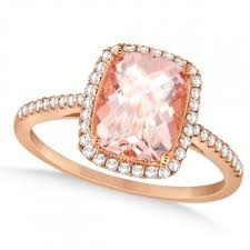 gold and morganite ring cushion cut morganite and diamond halo ring 14k gold 2 00ct