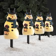 holiday time 4 piece vintage snowman pathway christmas lighted