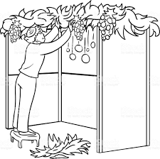 jewish guy builds sukkah for sukkot coloring page stock vector art