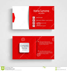 business card with red white background template stock vector