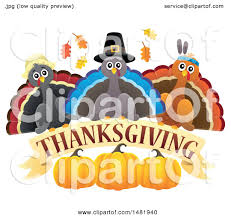 clipart of a of thanksgiving and pilgrim turkey birds