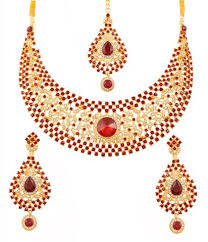 bridal necklace set gold images Touchstone gold plated very rich hasli style bridal necklace set jpg