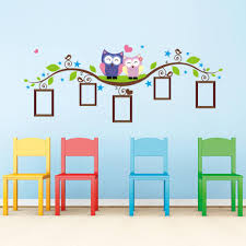 owl tree branch photo frames wall decal removable wall stickers