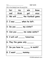 worksheet sight word cloze primary by abcteach teaching