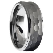 mens hammered wedding bands tungsten carbide men hammered stepped edges wedding band ring size