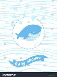 baby shower card whale boy greeting stock vector 523473772