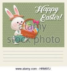 bunny basket eggs a easter bunny with a basket of easter eggs in a