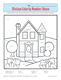 color by number house printable division worksheets