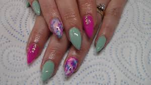 acrylic nails mint green sharpie nail art youtube within