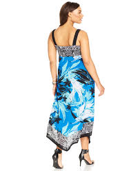 style u0026 co style u0026co plus size printed cascade maxi dress in blue