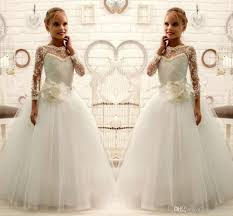 2016 lace beaded long sleeves ball gown tulle baby dresses