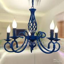 Painted Chandelier 23 5 Lights Mediterranean Chandelier Luxury Painted Blue Black