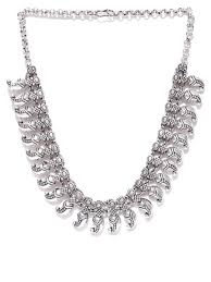 silver plated collar necklace images Silver necklaces buy silver necklace online myntra jpg