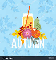 hand drawn autumn party greeting card stock vector 712581256