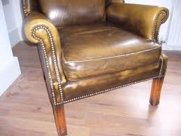 Antique Queen Anne Wing Back Chairs Vintage Leather Wing Back Chair Golden Brown Green Chesterfield