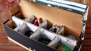 how to make a neat shoe box jewelry organizer diy home tutorial