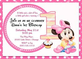 baby minnie mouse 1st birthday baby minnie mouse birthday party invitation 1st by photodesignz