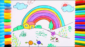 rainbow coloring page learn colors for kids with rainbow house