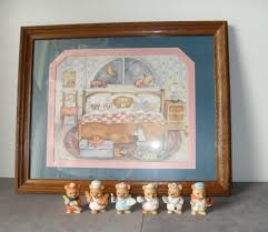 homco home interiors vintage home interior teddy bear in bed framed picture and 6