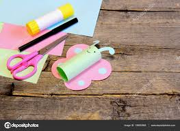 nice paper butterfly scissors marker glue stick colorful paper