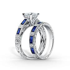 sapphire wedding rings images Blue sapphire and diamond engagement rings wedding sets by kirk kara png