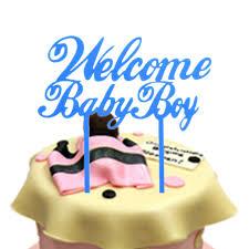 baby s birthday 1pc welcome baby boy birthday cake flags blue acrylic happy birthday