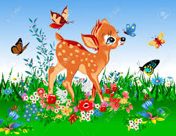 smallest deer in the spring meadow full of flowers and butterflies