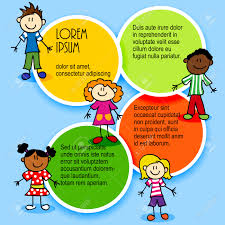 cartoon stick figures kids with color circles for text ad