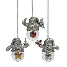towle santa snow globes pewter finish ornaments silver superstore