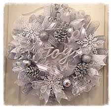 white deco mesh winter pinecone deco mesh wreath christmas